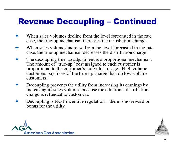 Revenue Decoupling – Continued