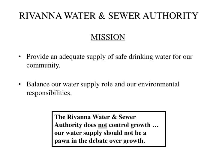 RIVANNA WATER & SEWER AUTHORITY