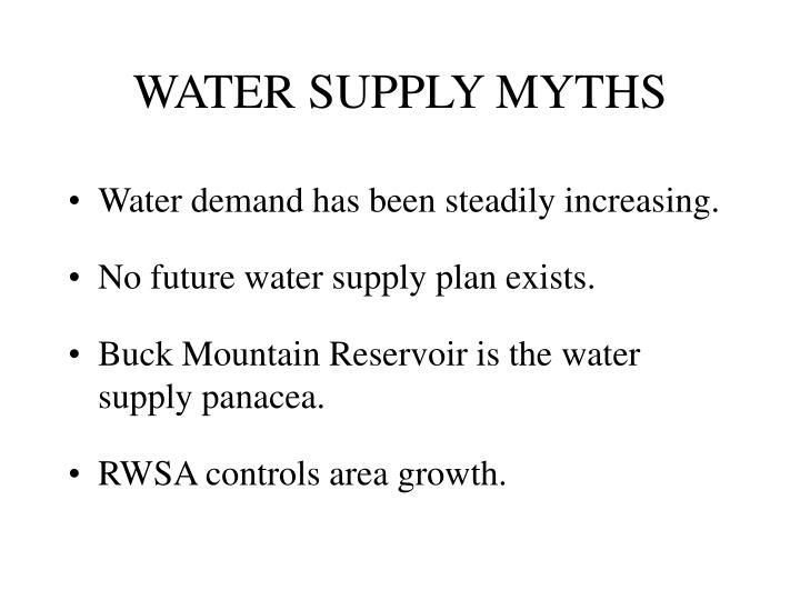WATER SUPPLY MYTHS