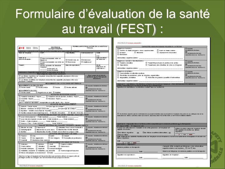Formulaire d'évaluation de la santé au travail (FEST) :