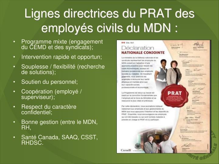 Lignes directrices du PRAT des employés civils du MDN :