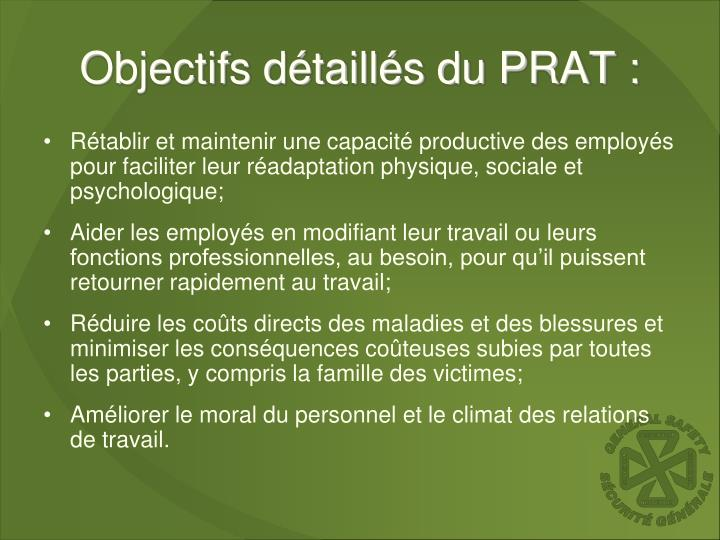 Objectifs détaillés du PRAT :