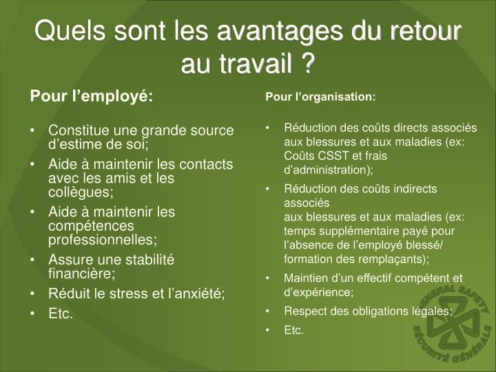 Quels sont les avantages du retour au travail ?