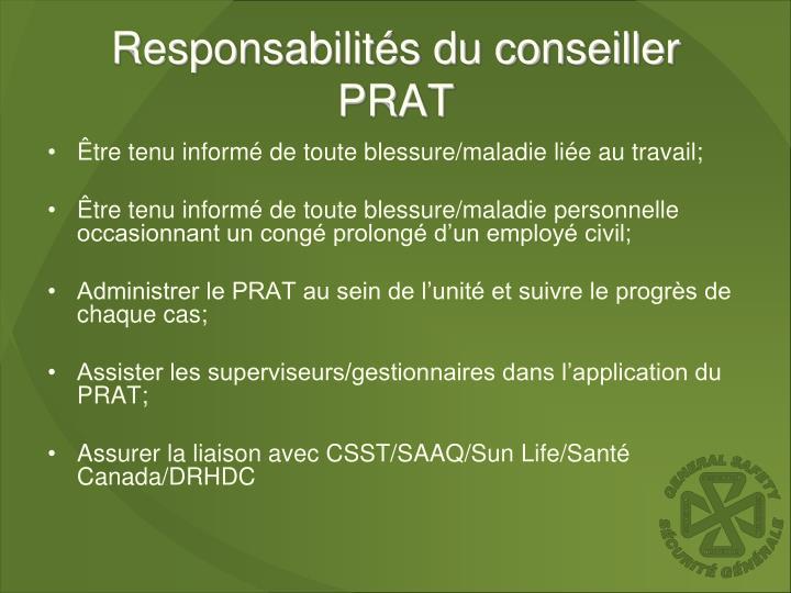 Responsabilités du conseiller PRAT