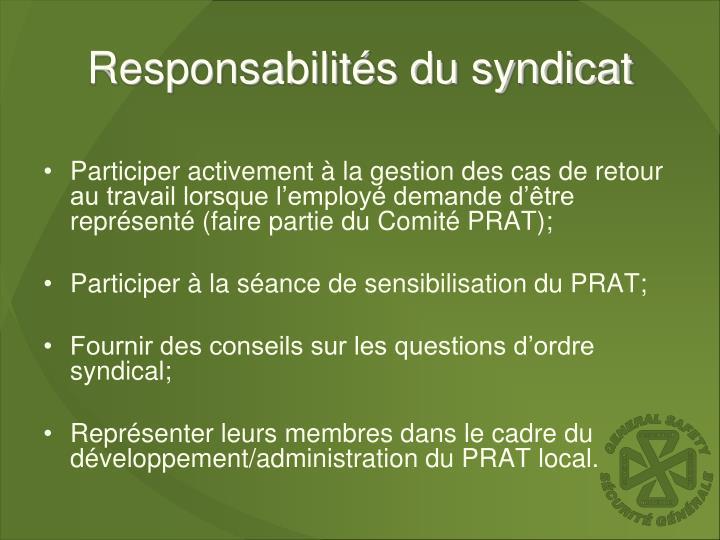 Responsabilités du syndicat