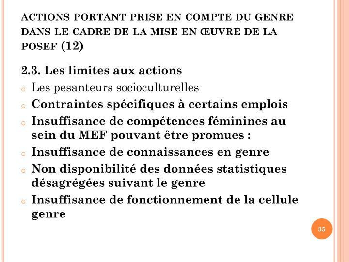 actions portant prise en compte du genre dans le cadre de la mise en œuvre de la