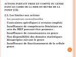 actions portant prise en compte du genre dans le cadre de la mise en uvre de la posef 12