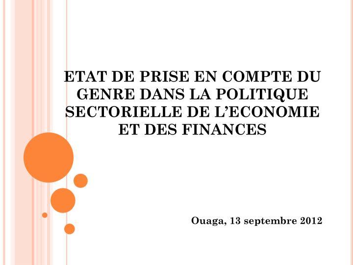etat de prise en compte du genre dans la politique sectorielle de l economie et des finances