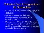 palliative care emergencies gi obstruction