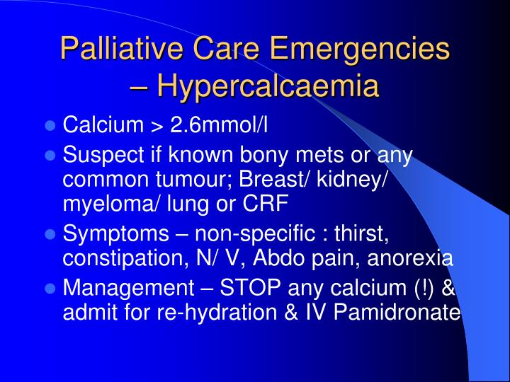 Palliative Care Emergencies  – Hypercalcaemia