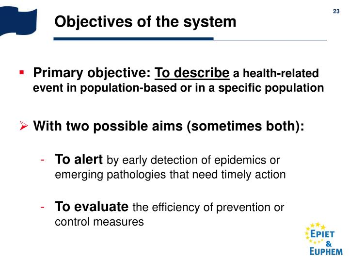 Objectives of the system