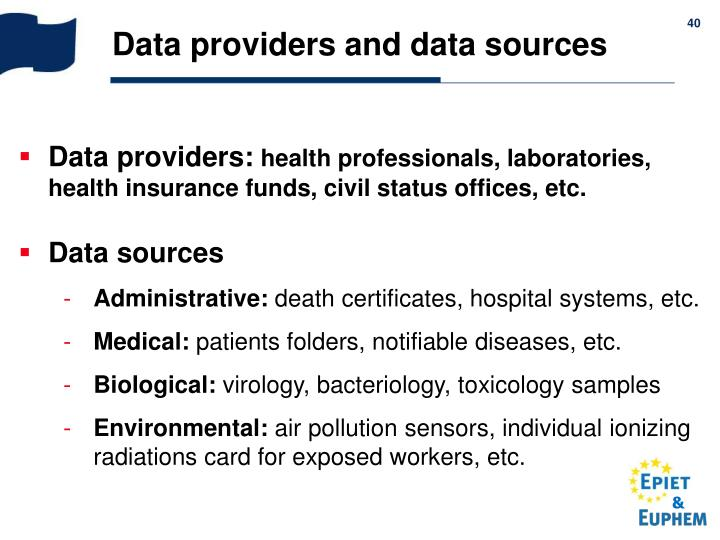 Data providers and data sources