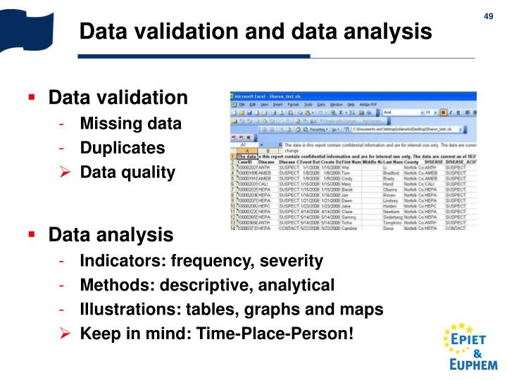 Data validation and data analysis