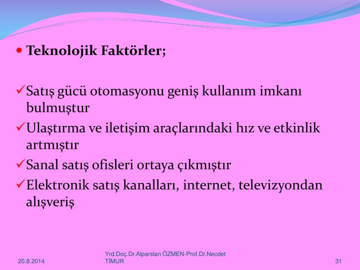 Teknolojik Faktörler;