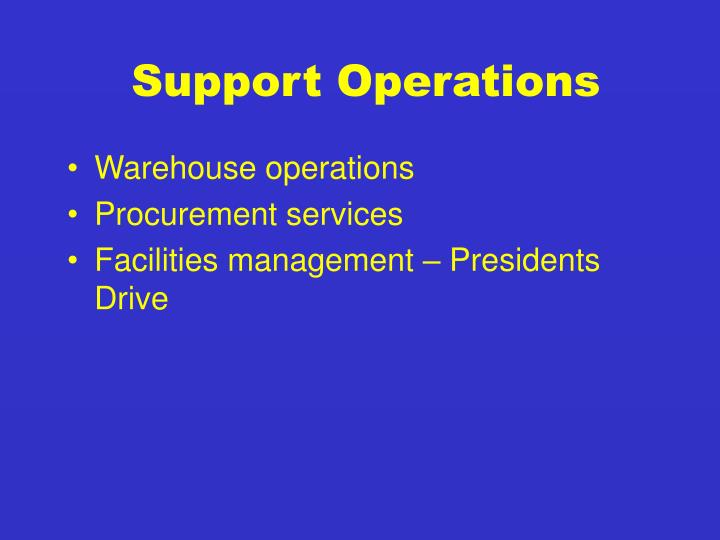 Support Operations