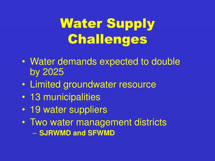 Water Supply Challenges