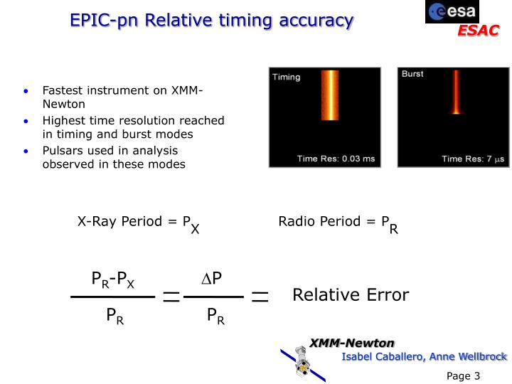 Epic pn relative timing accuracy