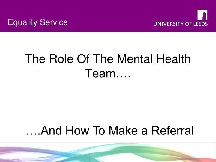 the role of the mental health team