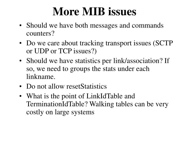 More MIB issues