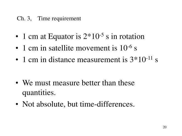 Ch. 3,    Time requirement