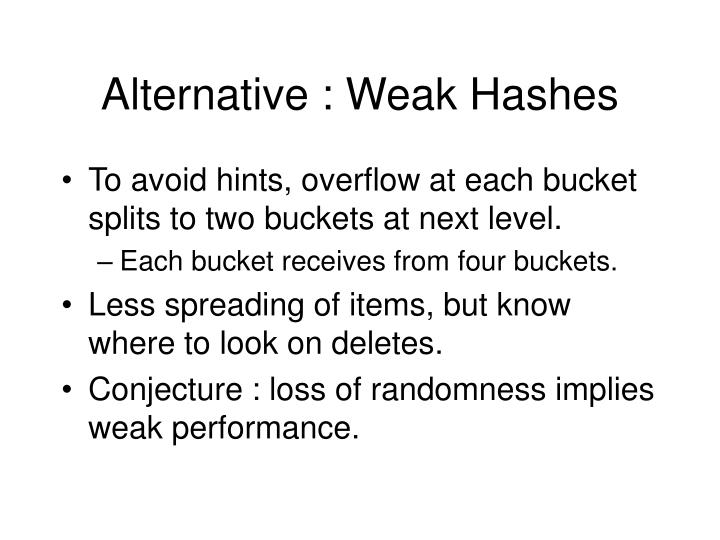 Alternative : Weak Hashes