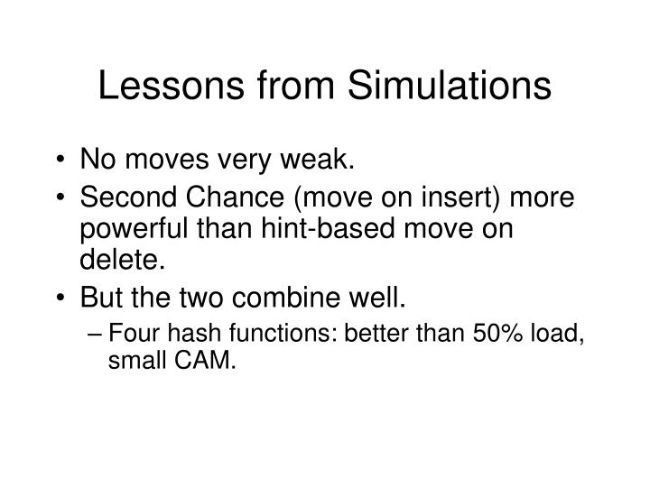 Lessons from Simulations