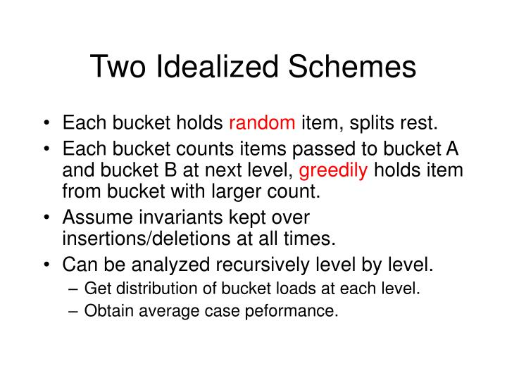 Two Idealized Schemes