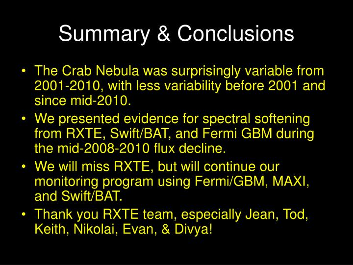 Summary & Conclusions
