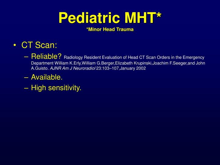 Pediatric MHT*