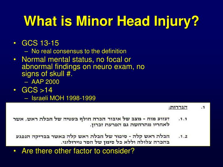 What is Minor Head Injury?