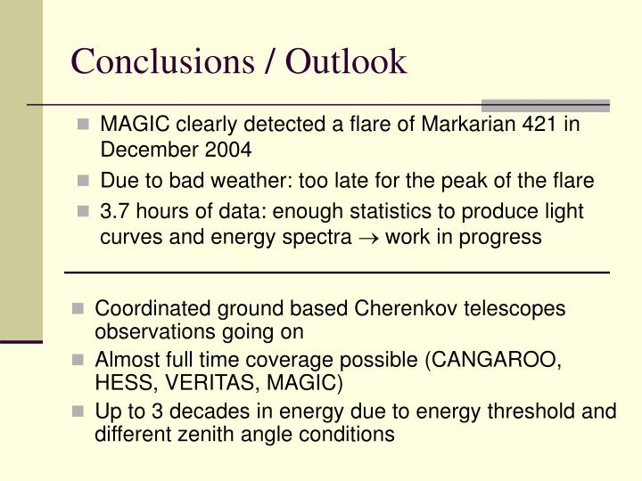 Conclusions / Outlook