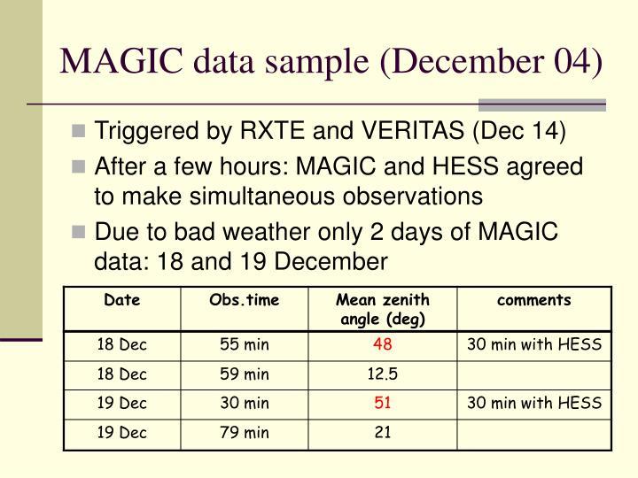 MAGIC data sample (December 04)