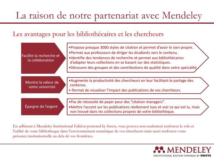 La raison de notre partenariat avec Mendeley