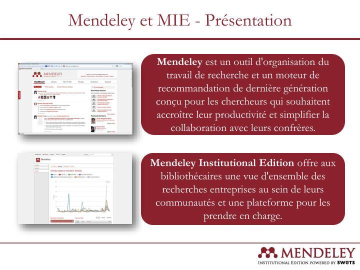 Mendeley et MIE - Présentation