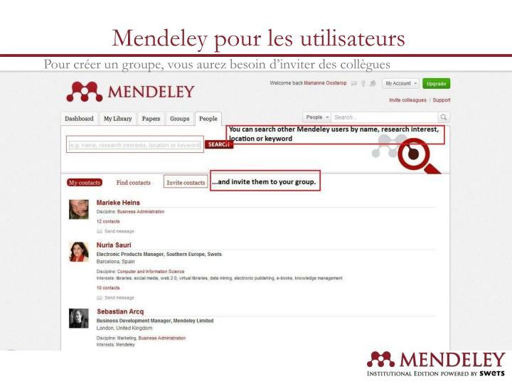 Mendeley pour les utilisateurs