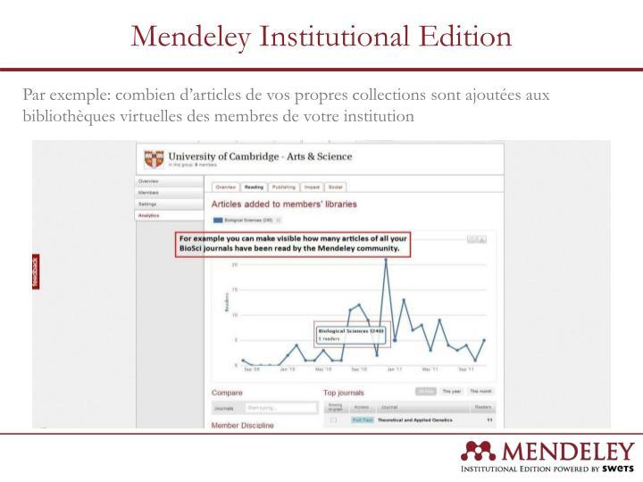 Par exemple: combien d'articles de vos propres collections sont ajoutées aux bibliothèques virtuelles des membres de votre institution
