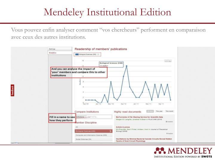 """Vous pouvez enfin analyser comment """"vos chercheurs"""" performent en comparaison avec ceux des autres institutions."""