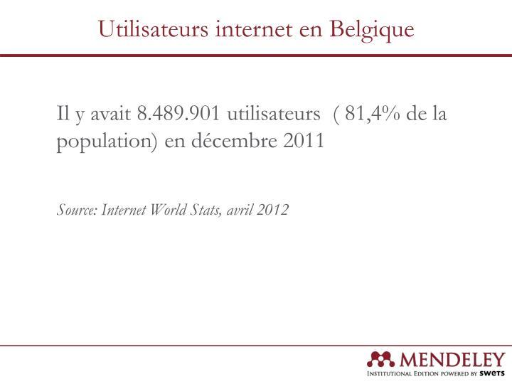 Utilisateurs internet en Belgique