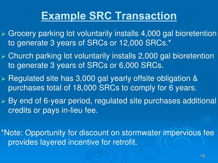 Grocery parking lot voluntarily installs 4,000 gal bioretention to generate 3 years of SRCs or 12,000 SRCs.*