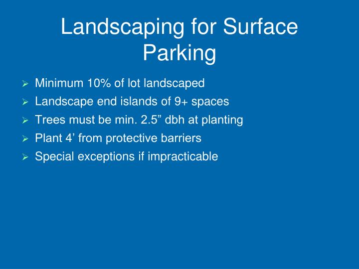 Landscaping for Surface Parking
