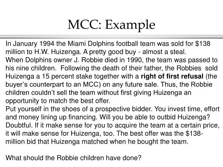 MCC: Example