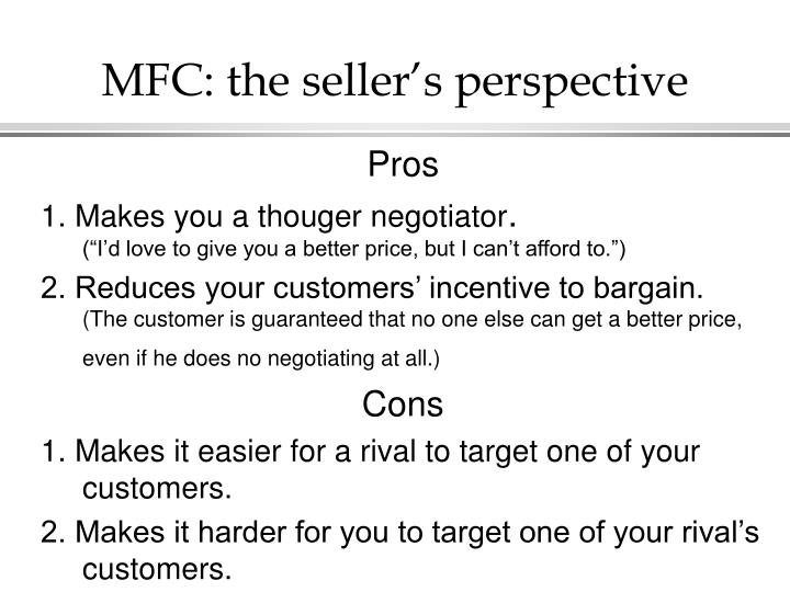 MFC: the seller's perspective