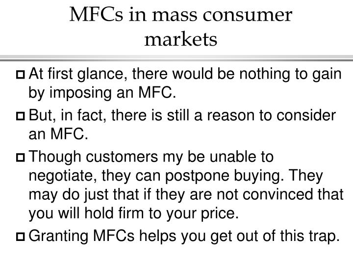 MFCs in mass consumer markets