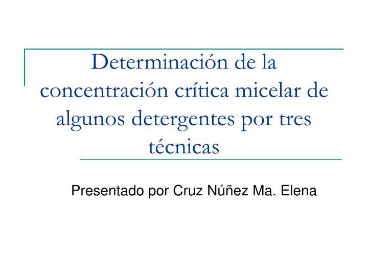 Determinación de la concentración crítica micelar de algunos detergentes por tres técnicas