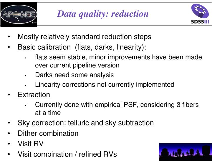 Data quality: reduction