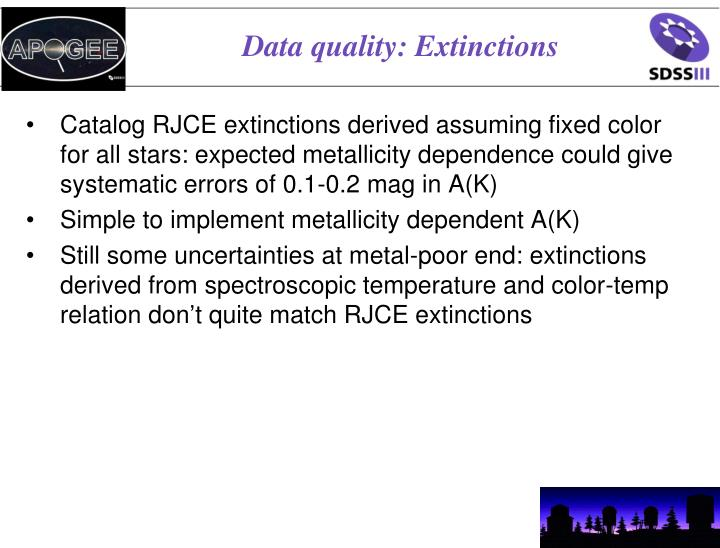 Data quality: Extinctions