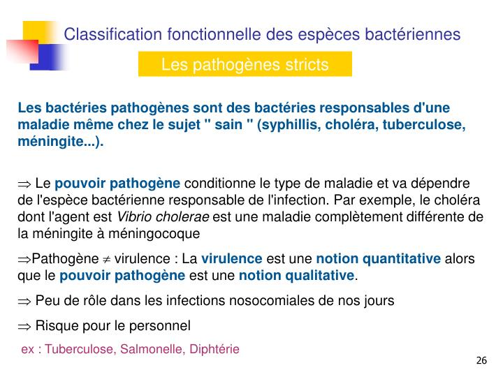 Classification fonctionnelle des espèces bactériennes
