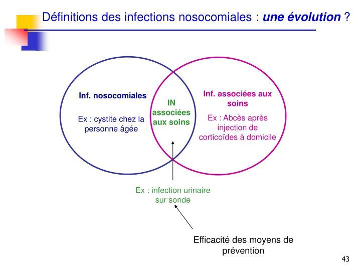 Définitions des infections nosocomiales :