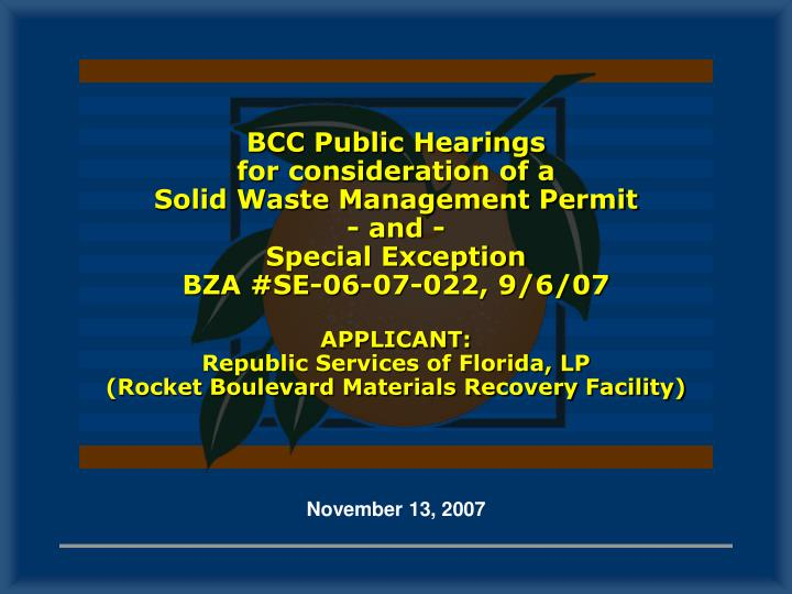 BCC Public Hearings