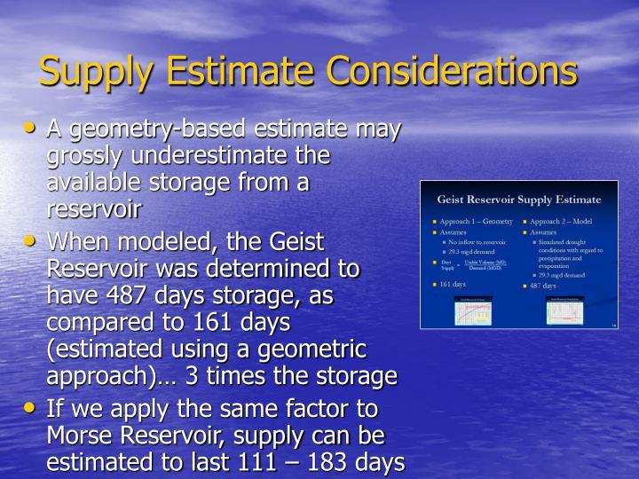 Supply Estimate Considerations